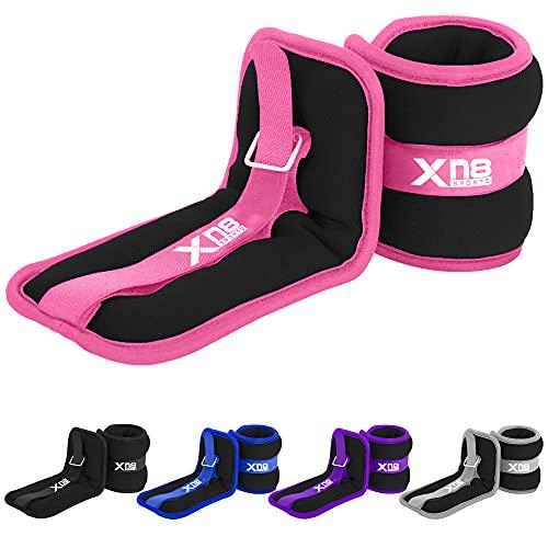 Xn8 Peso Caviglia Neoprene 0.5kg-3kg - Peso Polso Regolabile Cinghie per Fitness, Esercizio Fisico, Passeggiate, Jogging, Ginnastica, Aerobica, Palestra