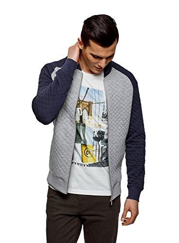 oodji Ultra Men's Jersey Jacket in Textured Fabric, Grey, US 40 / EU 50 / M