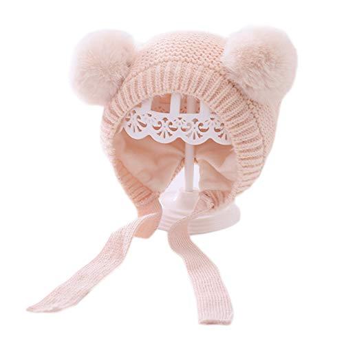 YOKING - Gorro de punto para bebé, diseño de pompón con forro de peluche