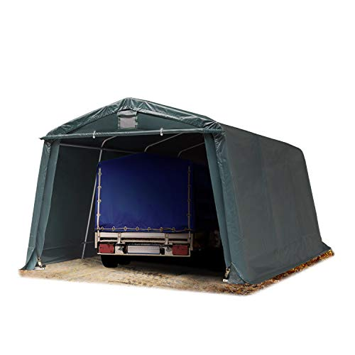 TOOLPORT Tendone Garage Premium 3,3 x 4,8 m Verde Scuro con Telo da ca. 500g/m² PVC, Costruzione Stabile in Acciaio, Garage per Moto