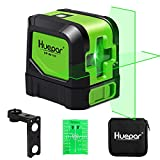 Huepar Cross Line Laser - DIY Self-Leveling Green Beam Horizontal and Vertical Line Laser Level with 100 Ft Visibility, Bright Laser with Magnetic Pivoting Base and Laser Target -M-9011G