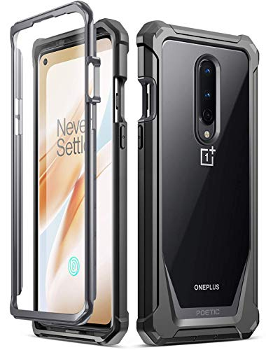 Poetic Guardian for Oneplus 8 Case, [Not Compatible with Verizon Version] Full-Body Hybrid Shockproof Bumper Cover with Built-in-Screen Protector, Black/Clear