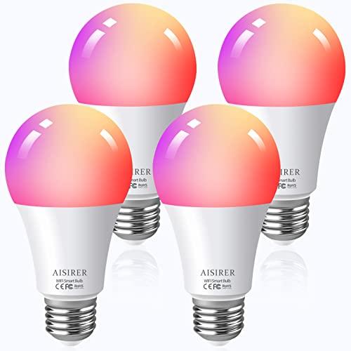 Smart Light Bulb, LED WiFi Smart Bulbs, AISIRER Color Changing Alexa Light Bulb 60 Watts, Compatible with Amazon Alexa Google Home Siri, 2.4GHz WiFi No Hub Required, A19 E26 Bulbs 4 Pack