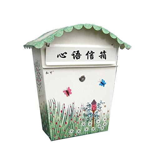 XMJG An der Wand montierter pastoral bemalter Briefkasten mit Schloss Kleiner Briefkasten Wasserdichter Vorschlagskasten Verzinktes Blatt 21,5 * 10 * 36,5 cm (Farbe: C)