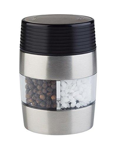 2 in 1 Salz- und Pfeffermühle aus Acryl & Edelstahl, mit Keramik-Mahlwerk, Mahlgrad / 6 x 4,5 cm, Höhe: 18,5 cm   SUN