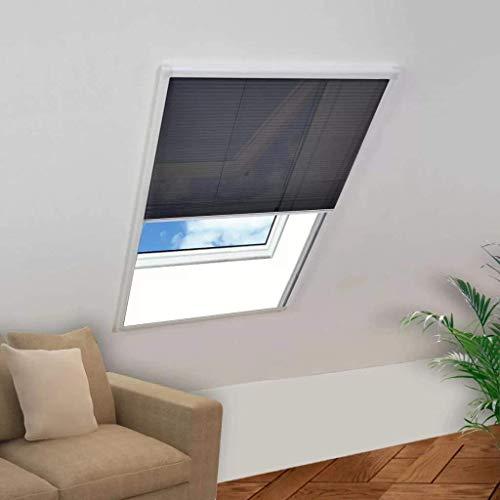 vidaXL Plisee Insektenschutz-Fenster Dachfenster Fliegengitter Alu Fliegennetz 80×160 cm