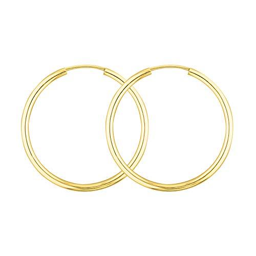 Echt Gold Creolen 30 mm 585 aus Gelbgold, Damen Ohrringe Gold mit Stempel, Breite 2 mm, Gewicht ca. 1,2 g, Made in Germany