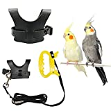 Bird Harness for Cockatiel, Bird Leash for Parrot, Adjustable Bird Harness Leash for Trainning, Black Fashion Vest, Suitable for Parakeets Conures, Macaws, Parrots, Love Birds, Finches (M)