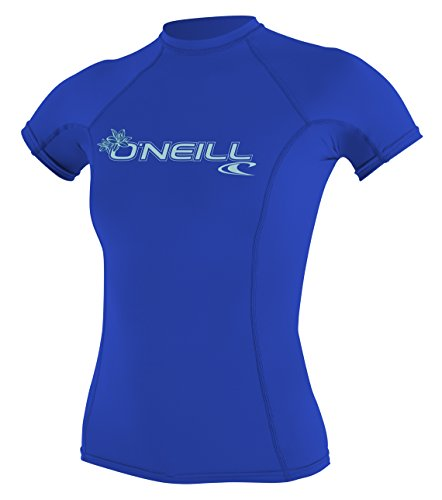 O'Neill Women's Basic Skins UPF 50+ Short Sleeve Rash Guard, Tahitian Blue, S