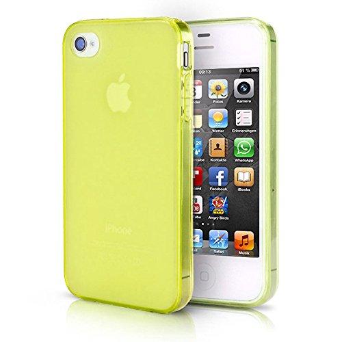 doupi PerfectFit Funda Compatible con iPhone 4 4S, Tapones de Polvo instalados TPU Ligero Estuche Protección, Amarillo