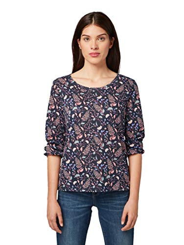 TOM TAILOR Damen T-Shirts/Tops Shirt mit Ballon-Ärmeln Navy floral Design,M
