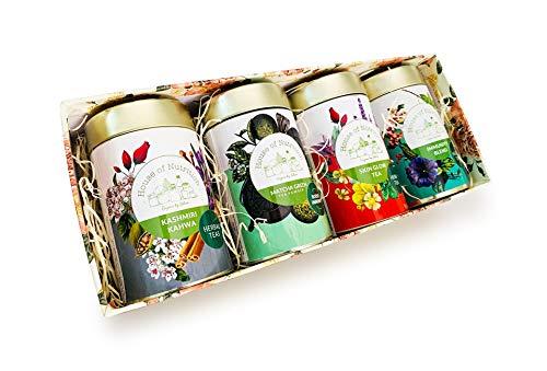 House of Nutrition Christmas & New Year Special Herbal Tea Gift Pack (Kashmiri Kahwa, Matcha Green Tea, Skin Glow, Immunity Blend - 50 gm Each)