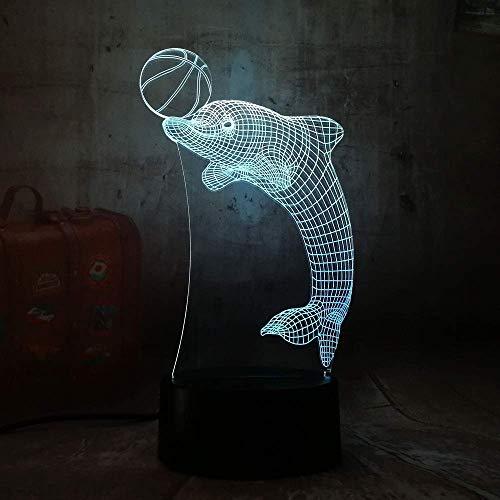 Dolphin Playing Ball 3D illusie lamp drie patronen en 7 decoratieve lampjes die van kleur wisselen, perfect cadeau voor kinderen