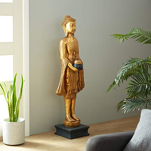 Deco 79 Eclectic Resin Detailed Standing Buddha Sculpture, 54'H x 16'L, Textured Gold Finish
