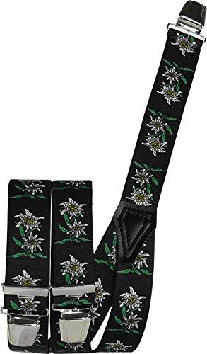 Harrys-Collection Hosenträger mit Edelweiss in 5 Farben mit 3 Clipsen, Farben:schwarz