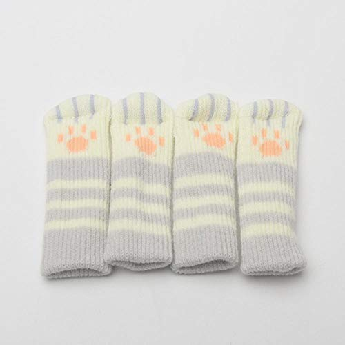 4pcs/set Home Furniture Decoration Restaurant DIY Spared Hotel Cat Claw Shape Soft Replacement Part Print Desk Leg Cover-Gray Strip,United States,11x3cm