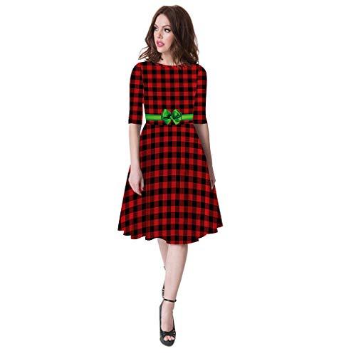 CHMORA Damen Kleid Eltern-Kind Langarm Weihnachten Plaid Casual Druckkleid Prinzessin...