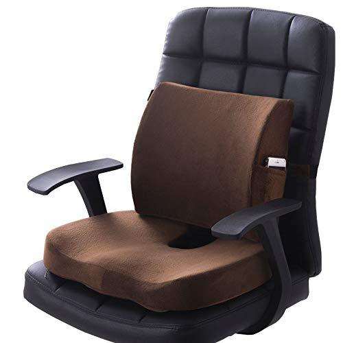 SEGIBUY Memory Foam Seat Kussens en Lumbar Ondersteuning Biedt verlichting voor Onderrug Pijn Sciatica Tailbone Coccyx Orthopedische Stoel Kussen voor Office Stoel Auto Sofa Rolstoel Outdoor
