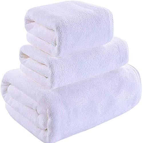Dongbin Masculinos Toallas de baño Adultos y Parejas de Mujeres Tres Conjuntos de Toallas Engrosamiento Fluffy Toalla absorción de Agua Soft Hotel,Blanco,120x200cm