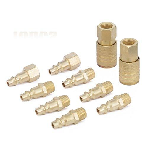 10 Stück Druckluft Kupplung Stecknippel Schnellverschluss 1/4 '' NPT Luft Schlauch Fitting Verbinder - Messing