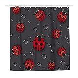 Duschvorhang Marienkäfer Regentropfen Wasserdicht Polyester Stoff Duschvorhänge für Badezimmer mit 12 haltbaren Kunststoffhaken 183 x 183 cm