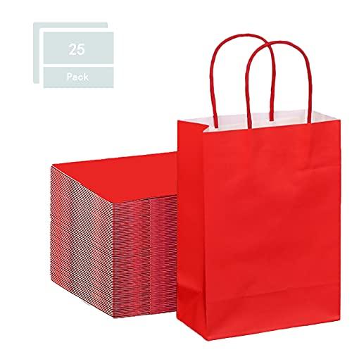 Sacchetti Carta con Manici,Sacchetti di Carta Kraft,Buste Regalo,Sacchetti di Carta Colorati,per Feste Possono Essere Fai Da Te,25 Pezzi. (rosso)