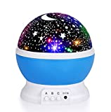 Luckkid Baby Night Light Moon Star Projector 360 Degree Rotation - 4 LED Bulbs 9 Light Color...