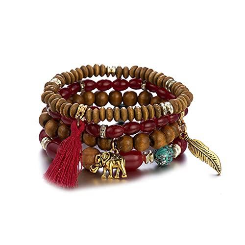 1 unid braclets para las mujeres multi-capa rojo cuentas pulsera elefante hoja borla accesorios