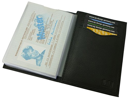 Kalbsleder Ausweisetui/Ausweishülle/Kreditkartenetui MJ-Design-Germany (Schwarz)