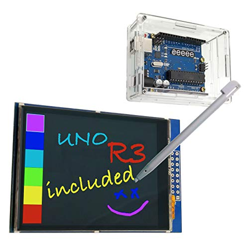 EEEEE 3 in 1, 2.8 inches Color LCD (Touch Screen) & UNO R3 ATMEGA328P Board & Acrylic Transparent case with Touch Pen, USB Cable, SD Card Socket, Compatible with Arduino