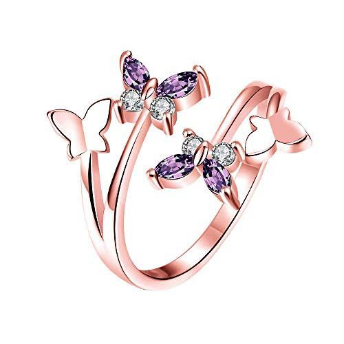U/K PULABO - Anillo elegante para mujer, diseño de mariposa, de plata de ley, 1 unidad, oro rosa, resistente y rentable