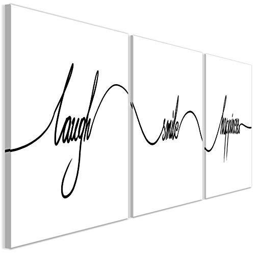 decomonkey Bilder Aufschrift Sprüchen 120x40 cm 3 Teilig Leinwandbilder Bild auf Leinwand Vlies Wandbild Kunstdruck Wanddeko Wand Wohnzimmer Wanddekoration Deko schwarz weiß