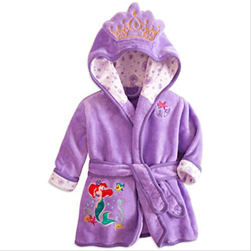 Bata de bebé para niñas Estampado de dibujos animados Minnie Mickey Albornoz de niños Pijamas de coral Cálido Infantil Ropa de niños Albornoces 2-6Y 4 Púrpura