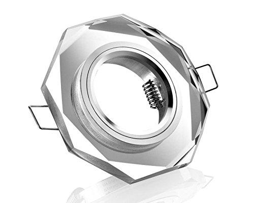 Kristall Einbauleuchte Einbaustrahler Einbaurahmen Einbaufassung Einbauspot Kristallglas klar 8-eckig Schnellspannkopf inkl. GU5.3 12V Fassung