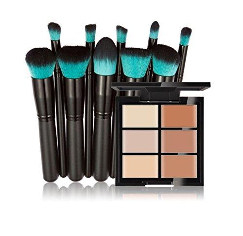 FantasyDay® 6 Couleurs de Maquillage Crème Correcteur Concealer Contour Palette Fond de Teint Cosmétique Anti-cernes Mettez en Surbrillance Camouflage Palette + 10PCS Pinceaux de Maquillage #2