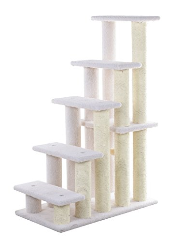 Armarkat Tiertreppe Katzentreppe Hundetreppe Treppe für Katze und Hunde, 111 cm hoch stabil 5 Stufen Elfenbein B75 x T41 x H111 cm