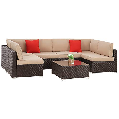 Patiomore 7 Pieces Outdoor Patio Wicker Furniture Set, Washable Seat Cushions with YKK Zippers and Tempered Glass Table, Brown