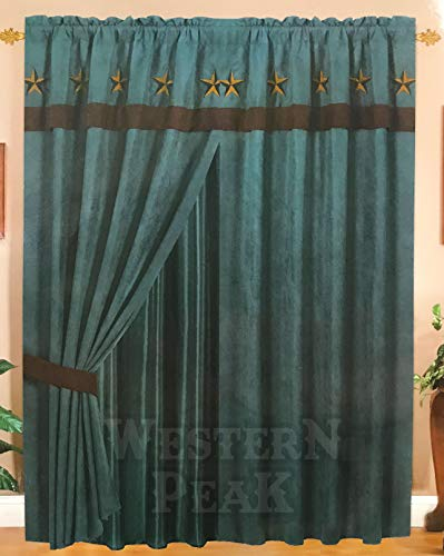 Rustic Luxury Western Star Design Embroidery Curtain Lining with Tassels (Turquoise Brown)
