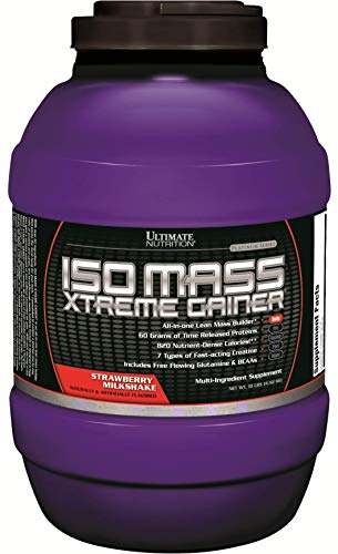 Ultimate Nutrition ISO Mass Xtreme Weight Gainer Protein Isolate Powder with Creatine - Gain Serious Lean Muscle Mass Fast with 60 Grams of Protein, Strawberry Milkshake, 30 Servings