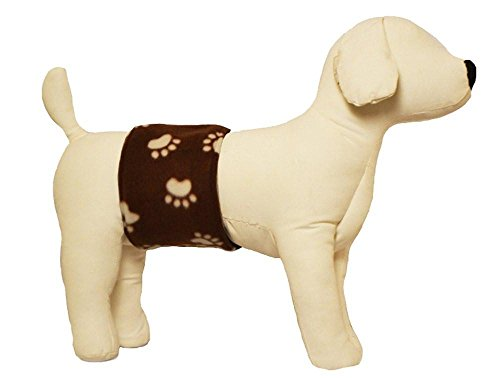Cuddle Bands Male Dog Belly Band for Housetraining and Incontinence - Washable and Reusable Dog Diaper (Paw Print Medium: 17-19')