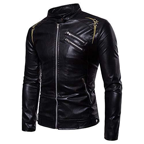 Preisvergleich Produktbild AliExpress 2018 Außenhandel Herbst und Winter Neue europäische und amerikanische Herren Herren Stehkragen Stickerei Lederjacke Jacke F227 schwarz_M