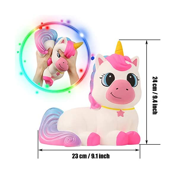 Anboor 9.1 Inches Squishies Giant Unicorn Horse Jumbo Kawaii Soft Slow Rising Scented Animal Squishies Stress Relief Kid Toys Gift 4