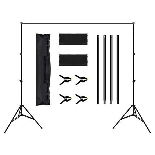OMBAR Soporte de Fondo para Fotografía Ajustable de 2x3M para Retrato, Fotografía de Productos y Grabación de Video, Soporte Telescópico para Fotográfico con 4 Abrazaderas Fondo y 2 Bolsas Arena