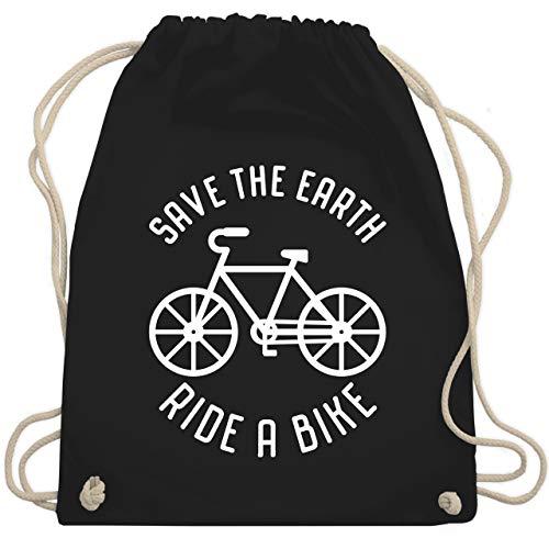 Shirtracer Radsport - Save the earth - Ride a bike - Unisize - Schwarz - turnbeutel bike - WM110 - Turnbeutel und Stoffbeutel aus Baumwolle