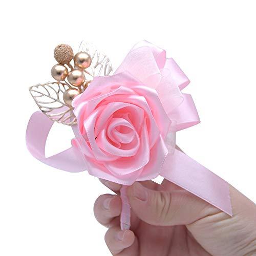 N/A KIKOM Boda Ramillete de Novia Dama de Honor Mejor Hombre Ramillete Cinta Rhinestone Suministros de Boda Pink Pack 2pcs
