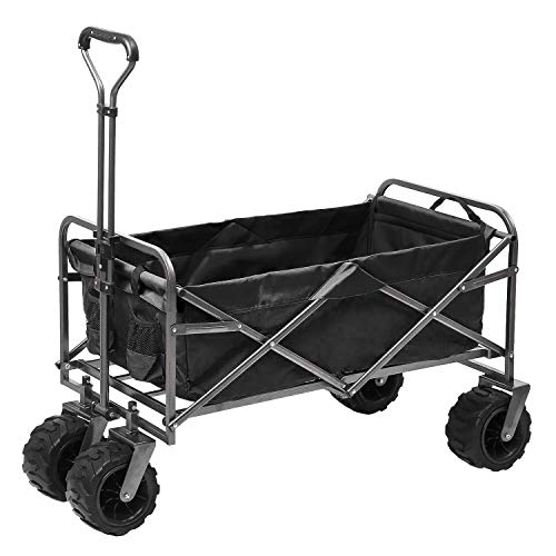 Outdoor Innovations Heavy Duty Collapsible All Terrain Folding Beach Wagon Utility Cart (Black)