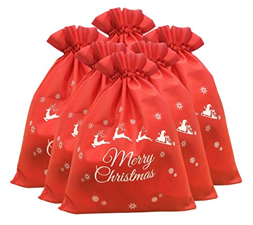 TIENO Christmas Drawstring Gift Bag Santa Present Bag Party Favors 11.8' x 15.7', 6 Pack