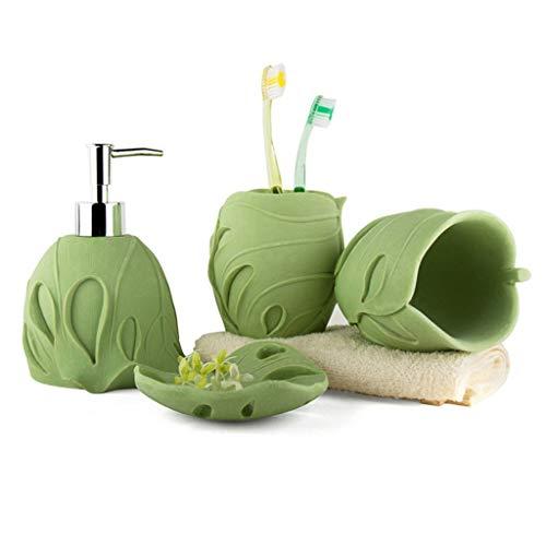 YHYH dispensador de jabón Conjunto De Arenisca De Arena De Forma De Arenisca Conjunto De Accesorios De 4 Piezas Conjunto De Baño Incluido Dispensador Regalo de Cocina (Color : Green)