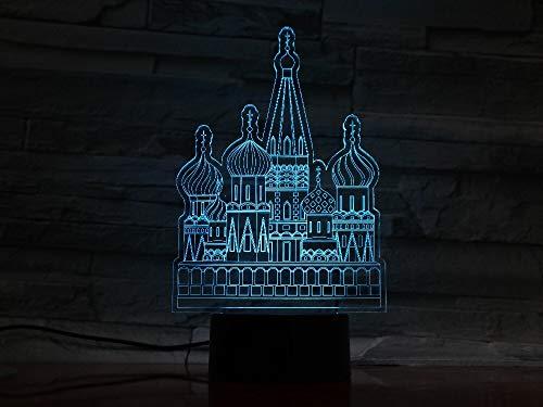 USB Castillo Botón 3D LED Luz de noche Lámpara de mesa Decoración de cabecera Regalo para niños