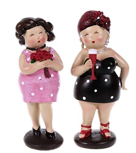 2 Party Ladies 12 cm im schicken Sommerkleid Mädchen Rubensfrau mollige Dame Dicke Frau Figur